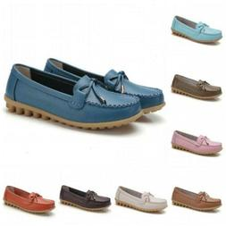 Ladies PU Leather Slip On Casual Loafer Shoes Nurse Moccasin