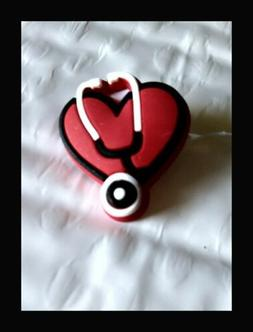 Authentic Jibbitz Nurse Shoe Charm Red Medical Heart With St