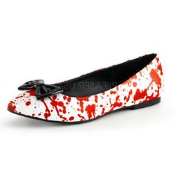 Bloody Pointed Toe Flats Nurse Zombie Gory Halloween Costume