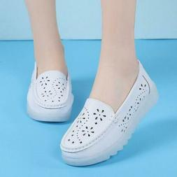 Chic Womens Hollow out Mesh Breathable White Nurse Shoes Sli