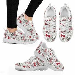 Cute Mesh Sneakers Women Comfy Lace Up Trainer Walking Shoes