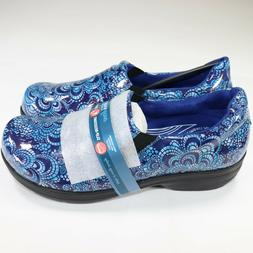 Easy Works by Easy Street Blue Embossed Clogs Shoes Slip Res