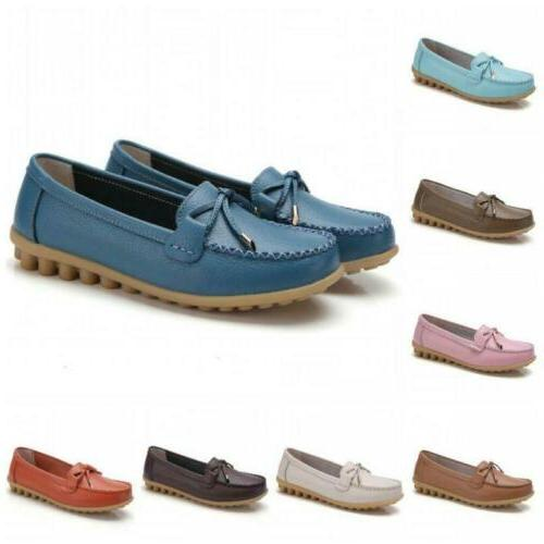 ladies pu leather slip on casual loafer