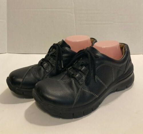 black leather all day comfort lace up