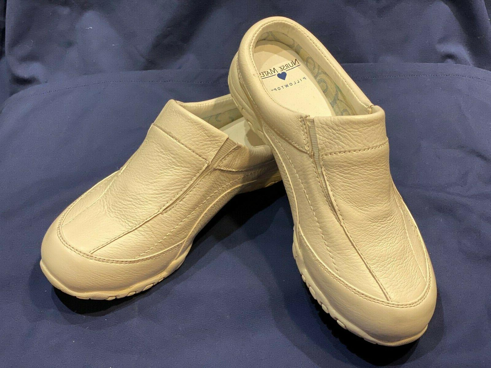 white leather pillow top nursing shoes open