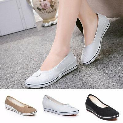 women flat canvas slip on loafers casual