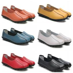 Summer Womens Slip On Casaul Loafers Shoes Solid Shallow Moc