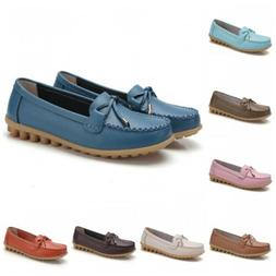 Womens 16 Colors faux Leather Slip On Moccasin Casual Loafer