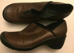 Privo by Clarks Womens Apex Brown Leather Shoes Nurses Clog