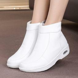 womens nursing leather fur lined work boots